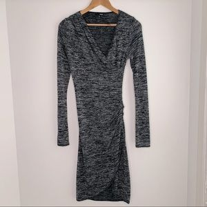 Wilfred Grey and Black Long Sleeve Sweater Dress